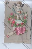 CPA En Celluloïd Et à Systèmes BONNE ET HEUREUSE ANNEE : Ange, Fleurs, Roses - Nouvel An