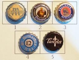 Lot N° 25-2 : 5 Capsules De Bière (parfait état - Pas De Trace De Décapsuleur) Beer - Cerveza - Birra - Bière