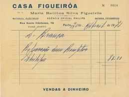 PORTUGAL COMMERCIAL INVOICE - PORTO - CASA FIGUEIRÔA - AGENCIA OFICIAL PHILIPS - Portugal