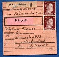 Colis Postal  -  Départ Salzmar ( Marsal )  -   23/6/1943 - Germany