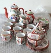 Service à Café Japonais Années 1920-1930 Porcelaine Fine 9 Tasses 2 Pots 1 Sucrier - Tassen