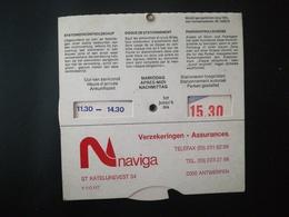 """VIEUX DISQUE DE CONTRÔLE DE STATIONNEMENT PUBLICITÉS """" NAVIGA """" ENTREPRISE ASSURANCES BELGIQUE - Pubblicitari"""