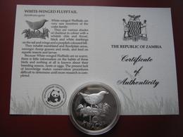Zambia 1986 10 Kwacha Silver Proof Coin WWF COA Card- White Winged Flufftail - Zambia