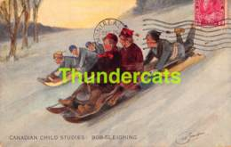 CPA ILLUSTRATEUR  SPORT D'HIVER ARTIST SIGNED WINTER SPORT GEO SIMPSON CANADIAN CHILD STUDIES BOB SLEIGHING BOBSLEIGH - Sports D'hiver