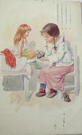 """""""Kinder, Puppe, Anziehen"""" 1913, Sig. K. Feiertag ♥   - Kinder"""