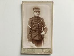 CDV Photo Franzosische Soldat Militar Miltaire Francais Cavalry Uniform Kepi 1 Foto Quinot Lille Andre Breton 1899 - War, Military
