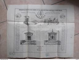 AFFICHE Env. 47 X 60 Cm Bascules Pour Chemins De Fer, Octrois , Abattoirs Poids Publics Béranger, Lyon Timbre Impérial - Pubblicitari