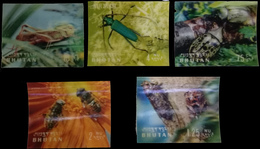 BHUTAN 3-D, 5 Different Insects-Plastic Surfaced Stamps-MNH - Bhutan