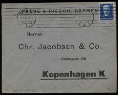 S6478 - DR 25 Pfg Hindenburg EF Auf Firmen Antwort Briefumschlag: Gebraucht Bremen - Kopenhagen 1927 , Bedarfserhaltun - Deutschland