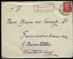 S6384 - DR 15 Pfg Hindenburg EF Auf Briefumschlag Mit Landpoststempel: Gebraucht Bomsdorf Guben Land - Reinstetten 193 - Deutschland