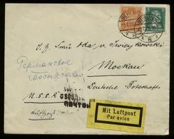 S6267 - DR 50 Pfg Adler MiF Auf Luftpost Briefumschlag : Gebraucht Berlin - Deutsche Botschaft Moskau 1928, Bedarfserh - Allemagne