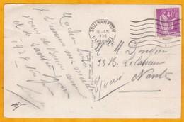 """1936 - CP Vers Nantes - Oblitération Paquebot Southampton, Angleterre - Affrt Type Paix 40 C - Vue Le """"Champlain"""" - Postmark Collection (Covers)"""