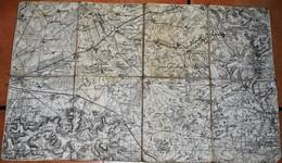 Rare Carte état Major Région Sissonne Entoilée - 1914-18