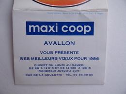 CALENDRIER De POCHE 1986 MAXI COOP à AVALLON 89 - Calendars
