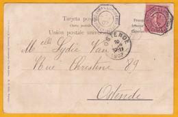 1907 - CP D'Argentine Vers Ostende, Belgique - Paquebot Bordeaux Buenos Aires LK N° 3 - Affrt Semeuse Lignée 10 C - Postmark Collection (Covers)
