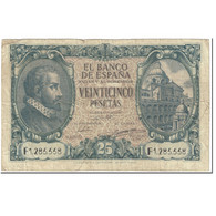 Billet, Espagne, 25 Pesetas, 1940, 1940-01-09, KM:116a, TB - [ 3] 1936-1975 : Régence De Franco