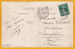 1913 - CP De Fort De France, Martinique Vers Lamagistère, Tarn & G- Paquebot Bordeaux à Colon - Affrt Semeuse Camée 5  C - Postmark Collection (Covers)