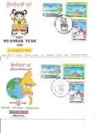 Myanmar ( 2 FDC De 1996 à Illustratios Différentes à Voir) - Myanmar (Birmanie 1948-...)