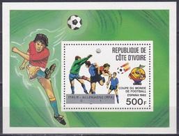 Elfenbeinküste Ivory Coast Cote D'Ivoire 1982 Sport Spiele Fußball Football Soccer FIFA WM Spanien Espana, Bl. 24 ** - Côte D'Ivoire (1960-...)