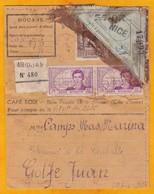 1939 - Bon De Colis De Café D'Abidjan, Côte D'Ivoire Vers Golfe-Juan, France - Paires René Caillé 2 F + Comoe 5f - Ivory Coast (1892-1944)