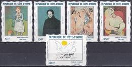 Elfenbeinküste Ivory Coast Cote D'Ivoire 1982 Kunst Arts Kultur Culture Gemälde Paintings Pablo Picasso, Mi. 741-5 ** - Côte D'Ivoire (1960-...)