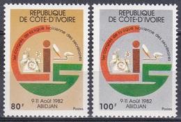 Elfenbeinküste Ivory Coast Cote D'Ivoire 1982 Arbeitswelt Sekretär Büro Bureau Telefon Phone Bleistift, Mi. 735-6 ** - Côte D'Ivoire (1960-...)