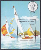 Elfenbeinküste Ivory Coast Cote D'Ivoire 1982 Organisationen Pfadfiner Scouts Schiffe Ships Boot Boat Regatta, Bl. 22 ** - Côte D'Ivoire (1960-...)