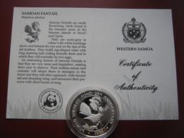 Samoa & Sisifo 1986 $10 Tala Silver Proof Coin WWF With COA Card - Samoan Fantail Bird - Samoa