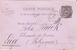 Entier 10c.Sage Sur Carte Postale Carton Violet Oblitéré MARSEILLE BOURSE Pour La BELGIQUE Repiquage Privé - Postmark Collection (Covers)