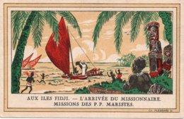 CPA   AUX ILES FIDJI---L'ARRIVEE DU MISSIONNAIRE---MISSIONS DES P.P. MARISTES - Fidji