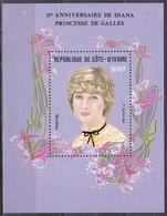 Elfenbeinküste Ivory Coast Cote D'Ivoire 1982 Persönlichkeiten Königshäuser Royals Prinzessin Diana Princess, Bl. 21 ** - Côte D'Ivoire (1960-...)