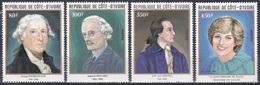 Elfenbeinküste Ivory Coast Cote D'Ivoire 1982 Piccard Physik Goethe Literatur Prinzessin Diana Washington, Mi. 719-2 ** - Côte D'Ivoire (1960-...)