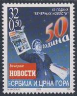 """Serbia And Montenegro 2003 Mi 3149 SG 40 ** Newspaper Vendor - 50th Ann. Newspaper """"Vecernje Novost"""" / Zeitungsverkäufer - Languages"""