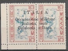 Italy Occ. Ionian Isl. Greece 1941 O/p ITALIA Occupazione Italiana Isole Cefalonia E Itaca 5 Lepta Pair NHM - Cefalonia & Itaca