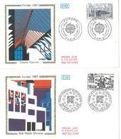 FDC Europa 87 Claude Vasconi (75 Paris 25/04/1987) - Rob Mallet Stevens (67 Strasbourg 25/04/1987) - 1980-1989