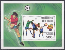 Elfenbeinküste Ivory Coast Cote D'Ivoire 1981 Sport Spiele Fußball Football Soccer FIFA WM Spanien Espana, Bl. 19 ** - Côte D'Ivoire (1960-...)
