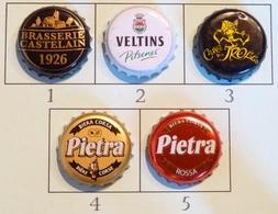 Lot N° 31-3 : 5 Capsules De Bière (parfait état - Pas De Trace De Décapsuleur) Beer - Cerveza - Birra - Bière