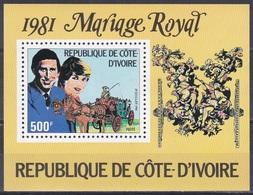 Elfenbeinküste Ivory Coast Cote D'Ivoire 1981 Persönlichkeiten Königshäuser Royals Hochzeit Charles Diana, Bl. 18 ** - Côte D'Ivoire (1960-...)