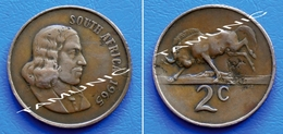 SOUTH AFRICA SUID AFRIKA 2 Cents 1965 BLACK WILDEBEEST (English Legend) - South Africa
