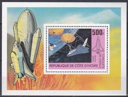 Elfenbeinküste Ivory Coast Cote D'Ivoire 1981 Weltall Weltraum Space Raumfahrt Raumfähre Shuttle, Bl. 17 ** - Côte D'Ivoire (1960-...)