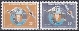 Elfenbeinküste Ivory Coast Cote D'Ivoire 1981 Kommunikation Weltfernmeldetag Flugzeug Aeroplane Satelliten, Mi. 678-9 ** - Côte D'Ivoire (1960-...)