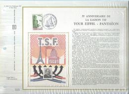 75ème ANNIVERSAIRE DE LA LIAUSON TSF / TOUR EIFFEL - PANTHEON  (  1 TIMBRE ) Planche Numérotée N° 169 / 11.500 - France