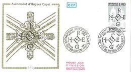 FDC 1000ème Anniversaire Avènement Hugues Capet (60 Noyon 20/06/1987) - FDC