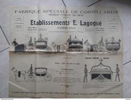 AFFICHE Env. 44,5 X 55 Cm Fabrique De Corbillards Lagogué Alençon Publicité Corbillard Funéraire Attelage - Publicités
