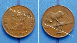 SOUTH AFRICA SUID AFRIKA 2 Cents 1970 BLACK WILDEBEEST - ERROR - ROTATED REVERSE - South Africa
