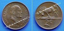 SOUTH AFRICA SUID AFRIKA 2 Cents 1976 PRESIDENT FOUCHE And BLACK WILDEBEEST - South Africa