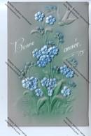 CPA Gauffrée BONNE ANNEE : Fleurs Hirondelle (face En Celluloïd,dos En Papier) Envoyée à BREUGNOT à Cousin La Roche 89) - Nouvel An