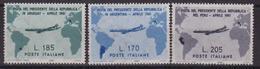 Italia 1961 Serie Visita Gronchi In Argentina Uruguay 3 Val MNH Map Flight - Geografia