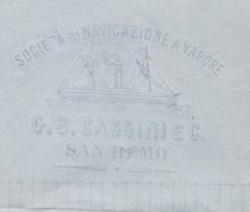 NAVIGAZIONE A VAPORE G.B.CASSINI & C. S.REMO 3/5/69 + PUNTI SU 20 C. + BORDIGHERA D.c. Su  LETTERA  COMPLETA - 1861-78 Victor Emmanuel II