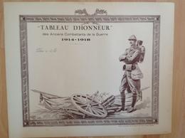 Diplome - Tableau D'Honneur Des Anciens Combattants Guerre 1914/18 - Poilu - Nantes Union Artistique De Bretagne - Diplômes & Bulletins Scolaires